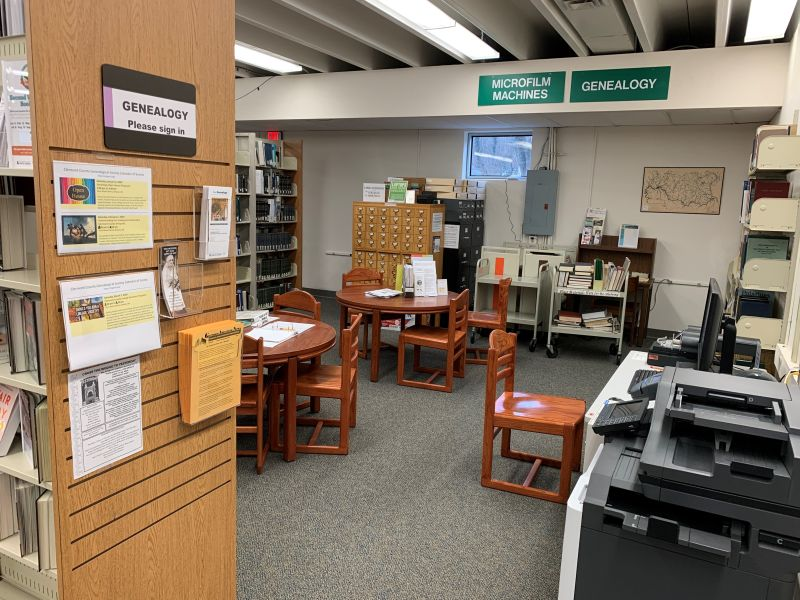 View as you enter the CCGS Genealogy section of the CCPL's Doris Wood Branch Library.